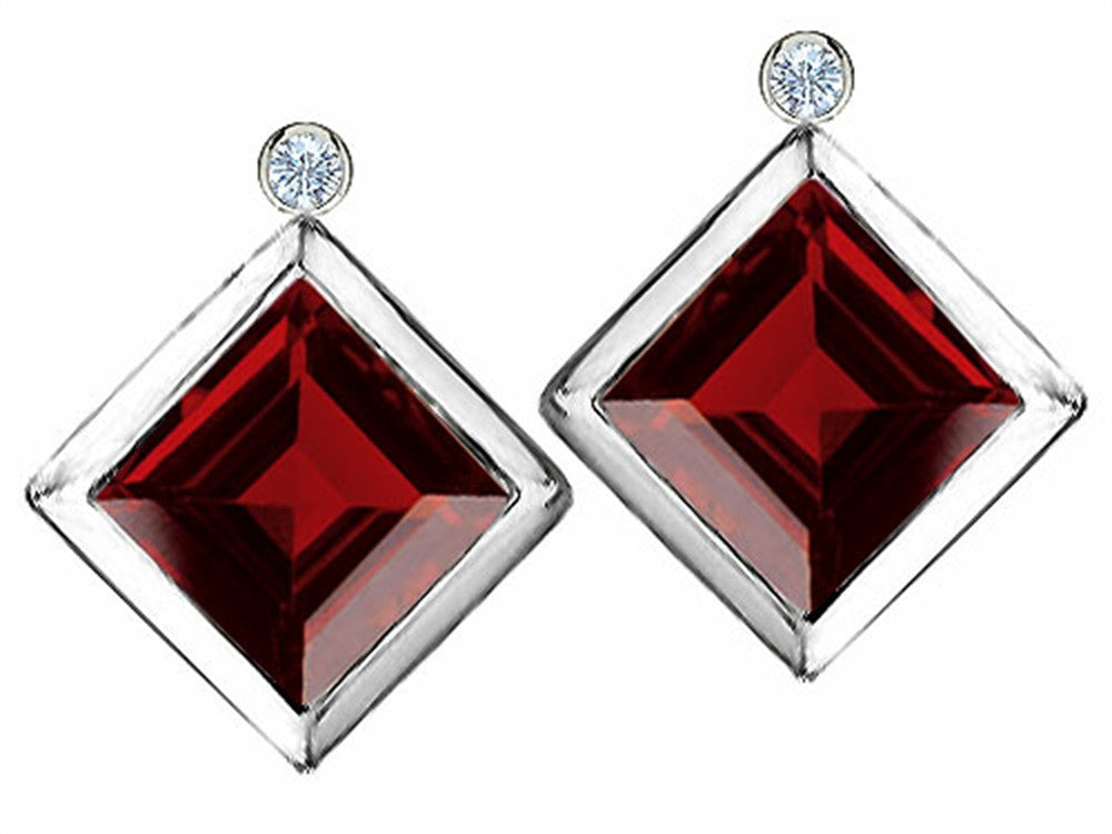 Star K Square 7mm Genuine Garnet Earrings Studs with High Post On Back Sterling Silver