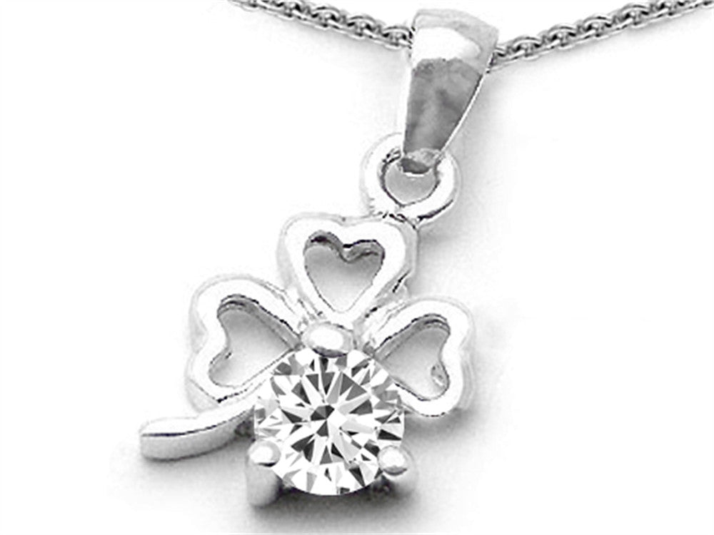 Celtic Round White Topaz Lucky Clover Pendant Necklace Sterling Silver