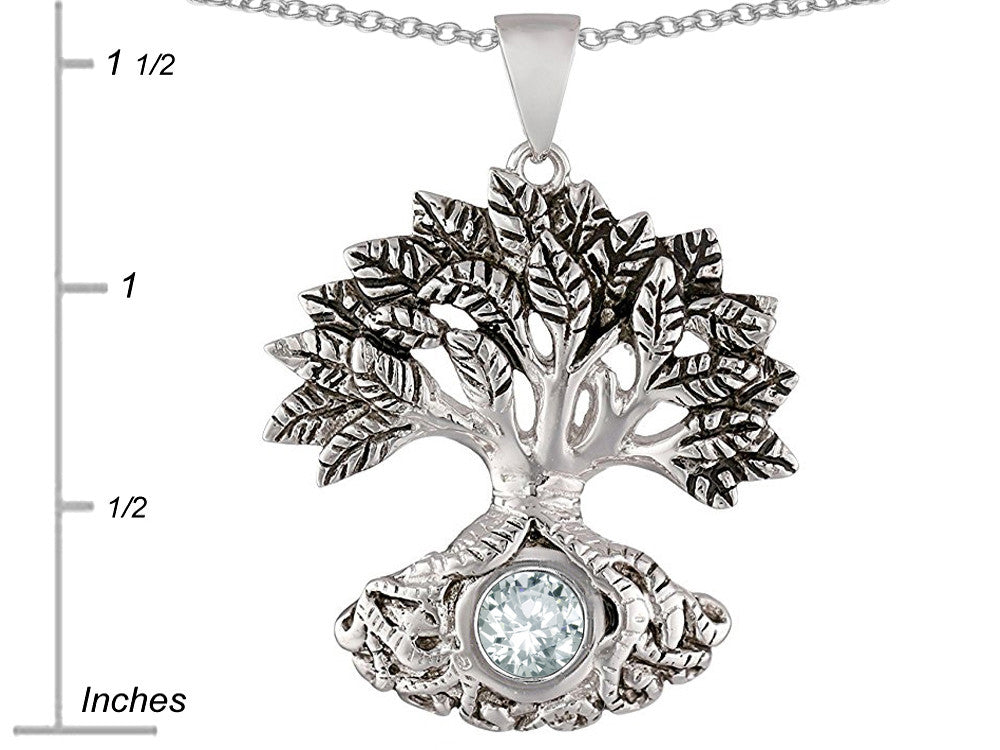 Star K Tree Of Life Good Luck Pendant Necklace with 7mm Round White Topaz Sterling Silver