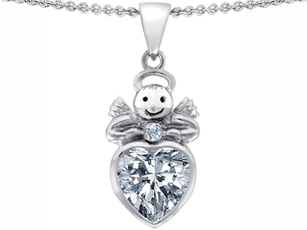 Star K Love Angel Pendant Necklace with 10mm Genuine White Topaz Heart Sterling Silver