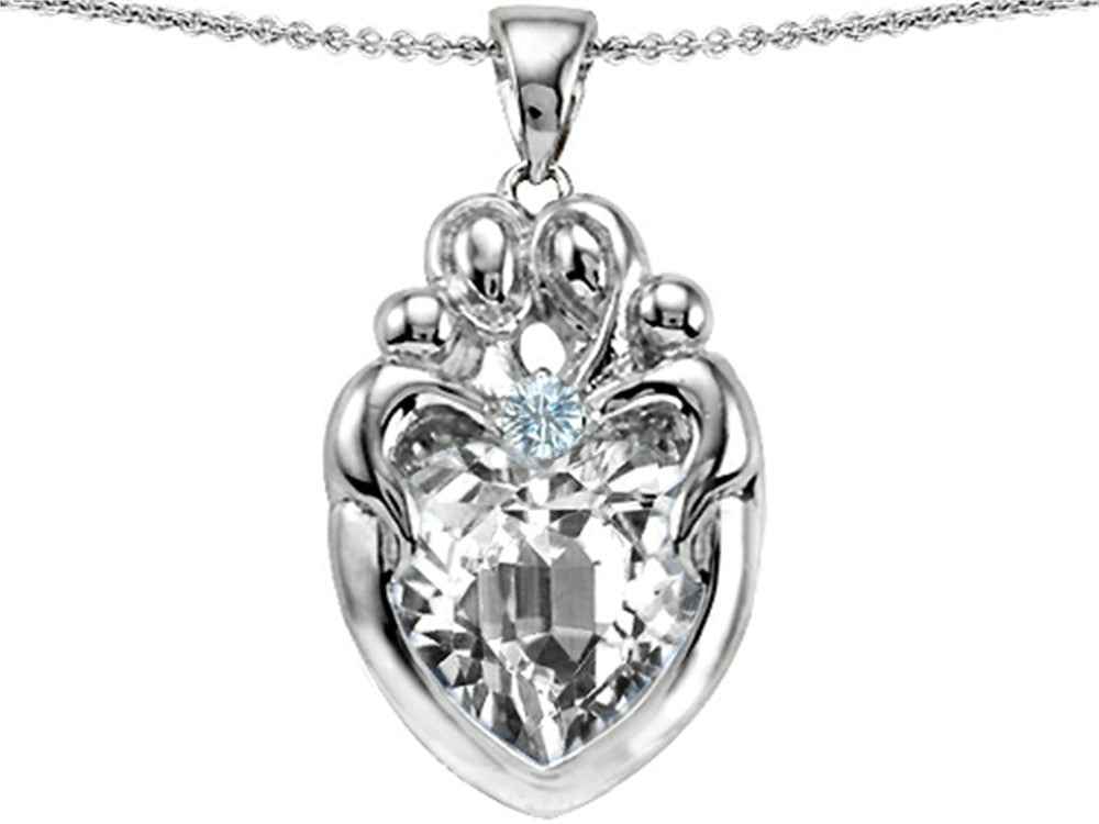 Star K Loving Mother and Twins Family Pendant Necklace with Heart-Shape 12mm Genuine White Topaz Sterling Silver