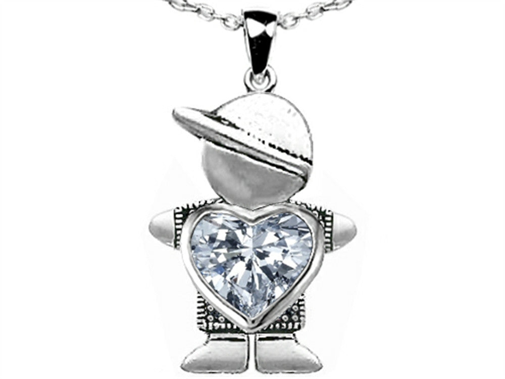 Star K Boy Holding 8mm Mother Heart December Birthstone Pendant Necklace with White Topaz Sterling Silver