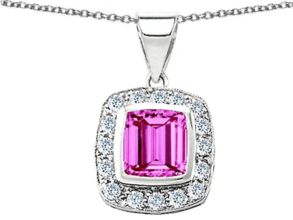 Star K Square Cushion-Cut 8mm Created Pink Sapphire Pendant Necklace Sterling Silver