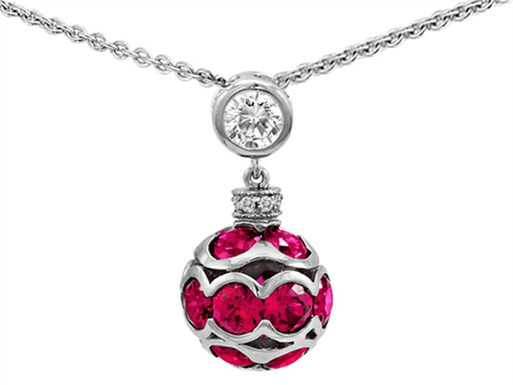 Star K Created Ruby Ball Pendant Necklace in Sterling Silver