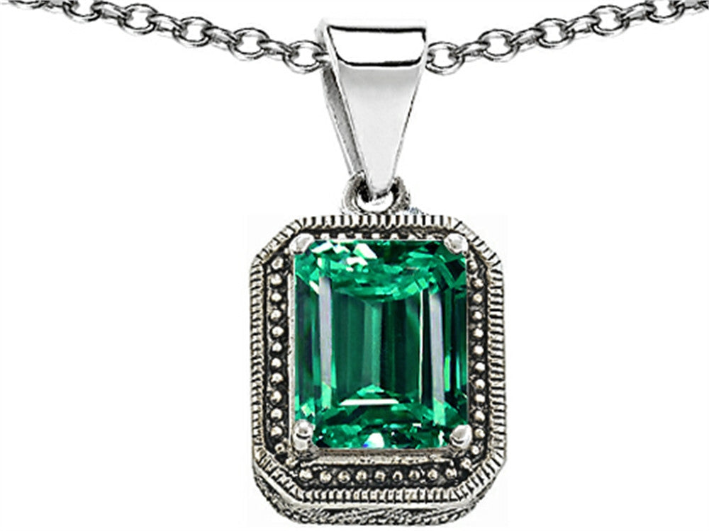 Star K Bali Style Emerald Cut 10x8mm Simulated Emerald Pendant Necklace Sterling Silver