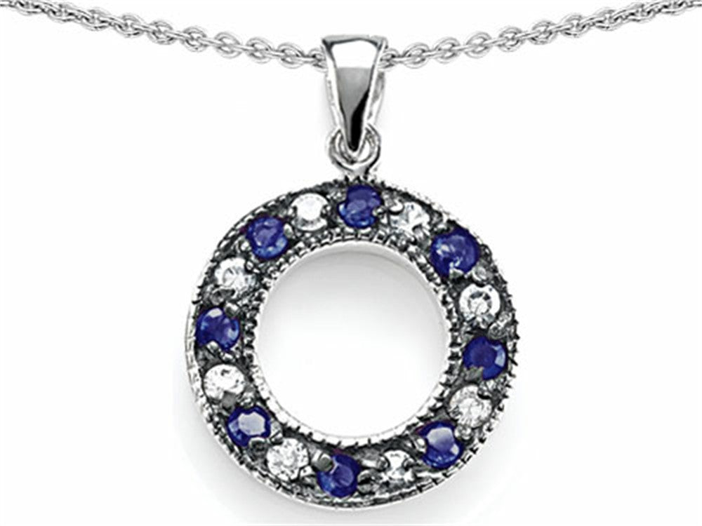 Star K Love Circle Pendant Necklace with Created Sapphire Sterling Silver