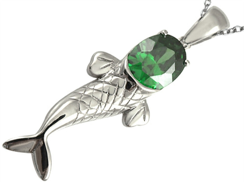 Star K Fish Pendant Necklace with Oval Simulated Emerald Sterling Silver