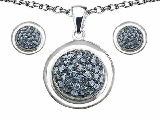 Star K Simulated Aquamarine Round Puffed Pendant with matching earrings Sterling Silver
