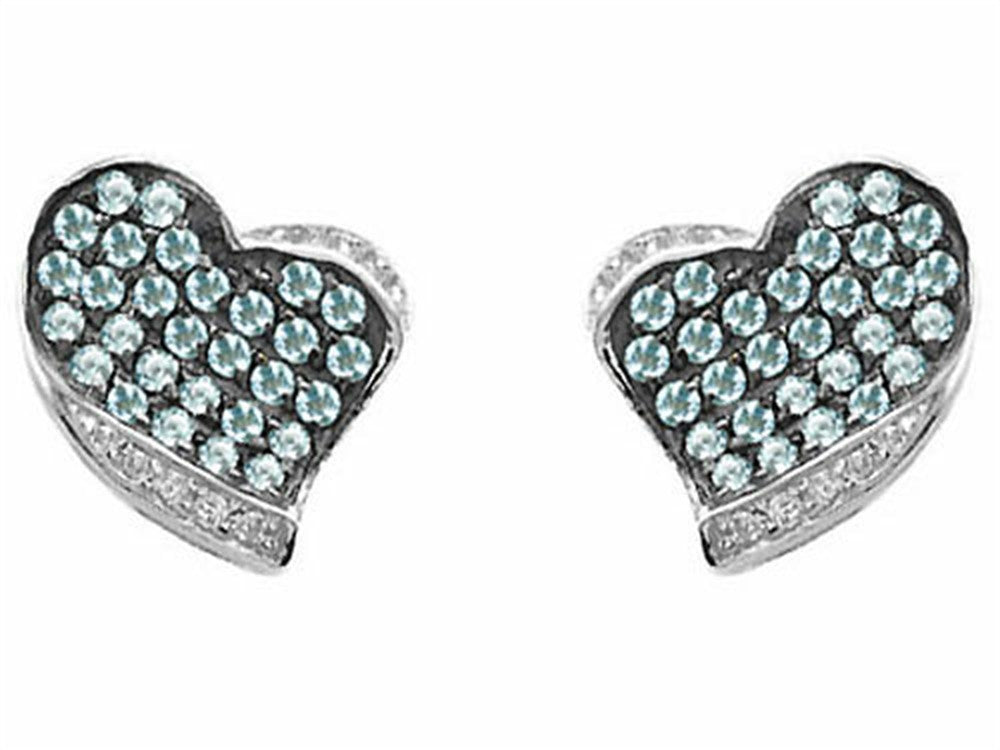 Star K Heart-Shape Love Earrings with Simulated Aquamarine Sterling Silver