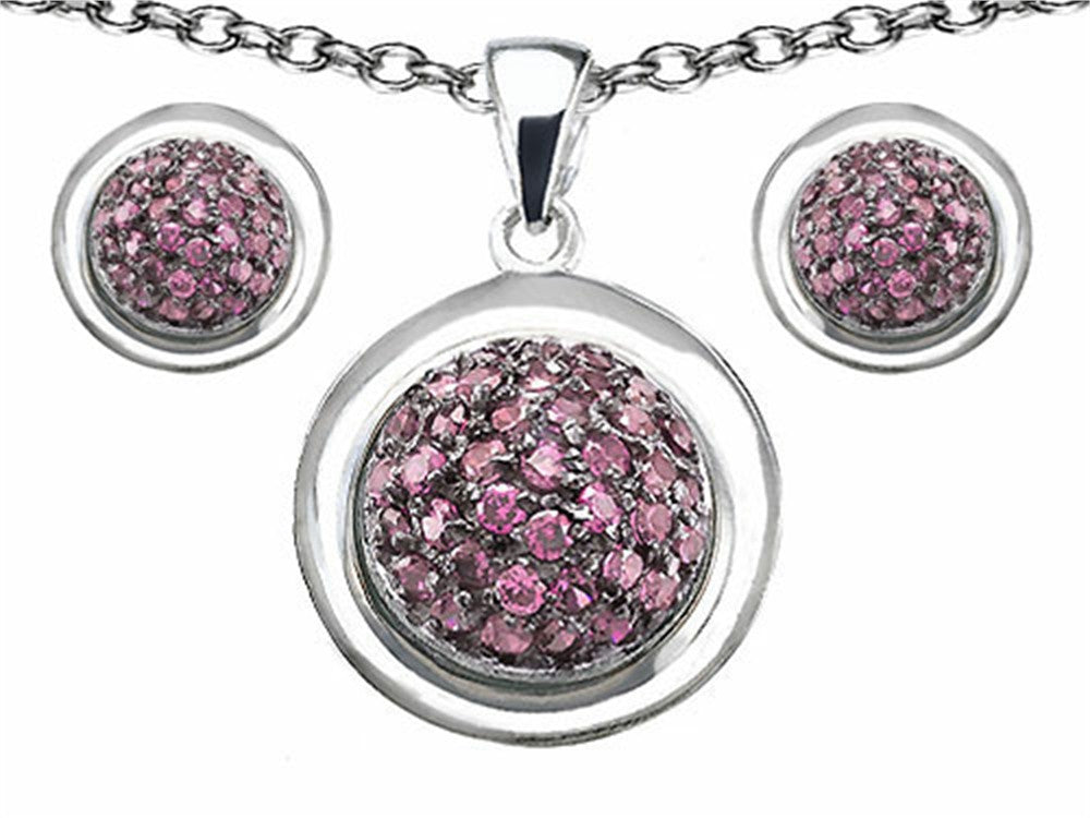 Star K Created Pink Sapphire Round Puffed Pendant with matching earrings Sterling Silver