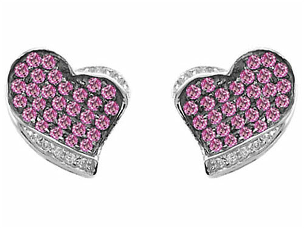 Star K Heart-Shape Love Earrings with Created Pink Sapphire Sterling Silver