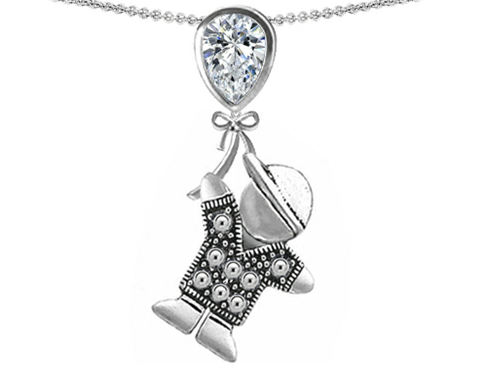 Star K Boy Holding a Balloon Mother Birthstone Pear Shape Genuine White Topaz Pendant Necklace Sterling Silver