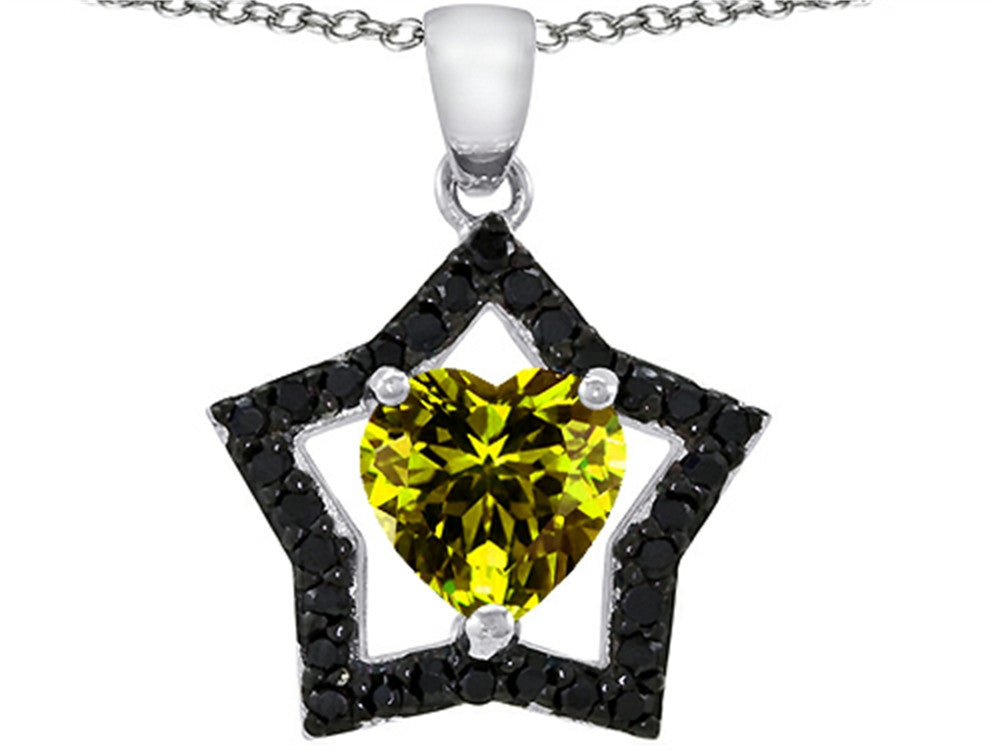 Star K Heart-Shape 8mm Simulated Peridot Black Star Pendant Necklace Sterling Silver