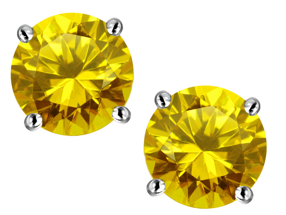 Star K Round 7mm Simulated Citrine Earrings Studs Sterling Silver
