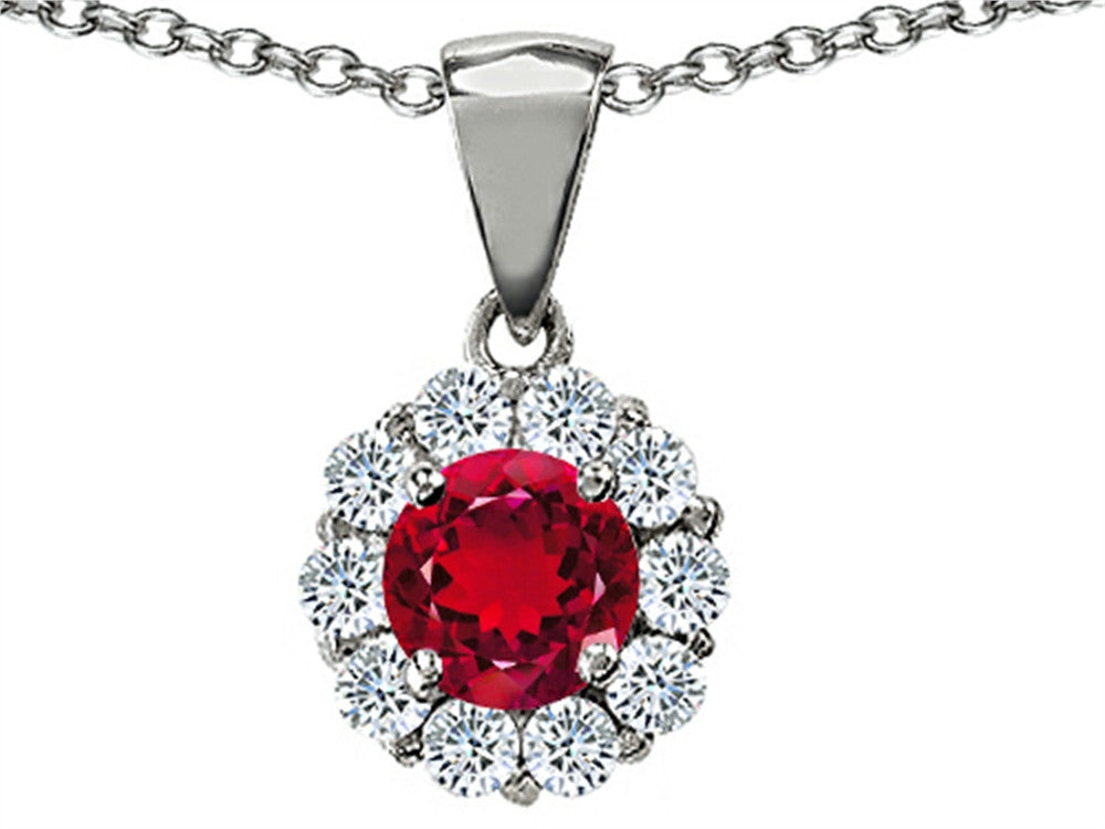 Star K Created Round Ruby Pendant Necklace in Sterling Silver