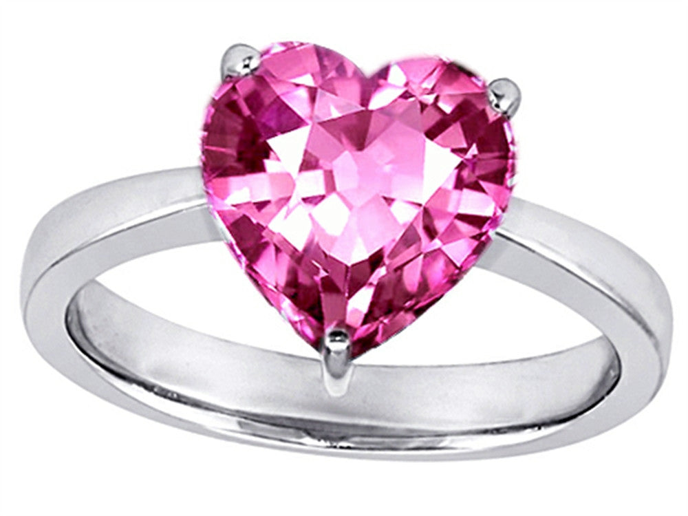 Star K 10mm Heart-Shape Solitaire Ring with Created Pink Sapphire Sterling Silver Size 8