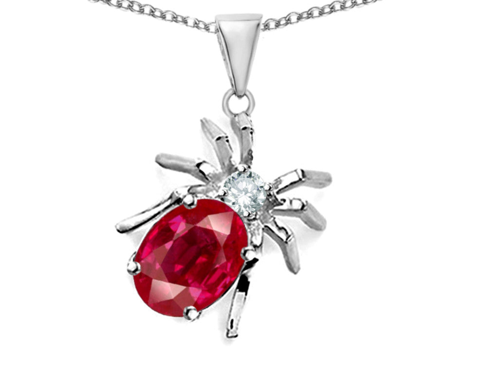 Star K Spider Pendant Necklace with Oval Created Ruby Sterling Silver