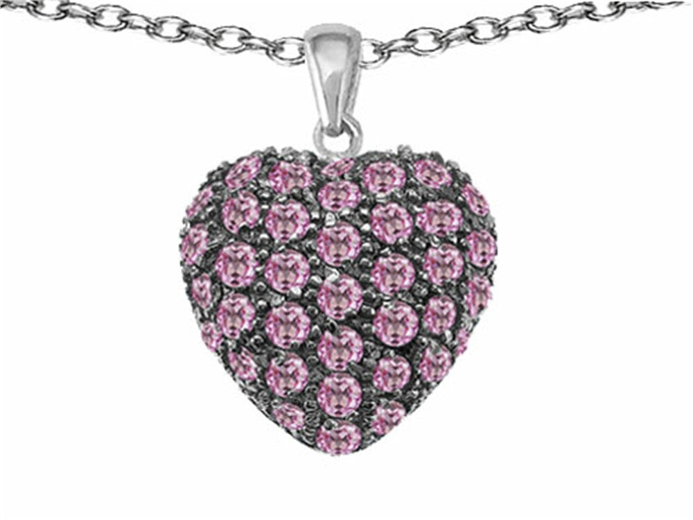 Star K Puffed Heart Love Pendant Necklace with Created Pink Sapphire Sterling Silver