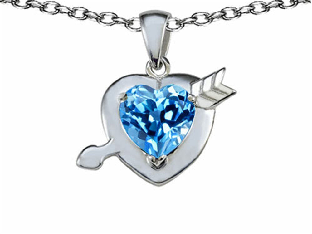 Star K Heart with Arrow Love Pendant Necklace with Simulated Blue-Topaz Sterling Silver