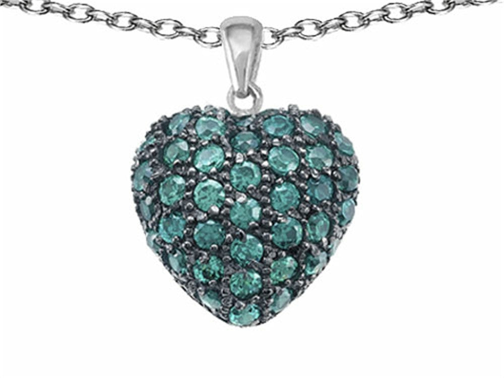 Star K Puffed Heart Love Pendant Necklace with Simulated Emerald Sterling Silver