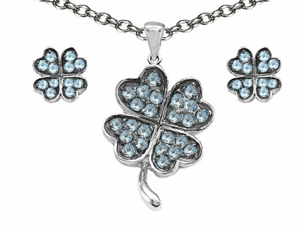 Celtic Simulated Aquamarine Lucky Clover Pendant with matching earrings Sterling Silver