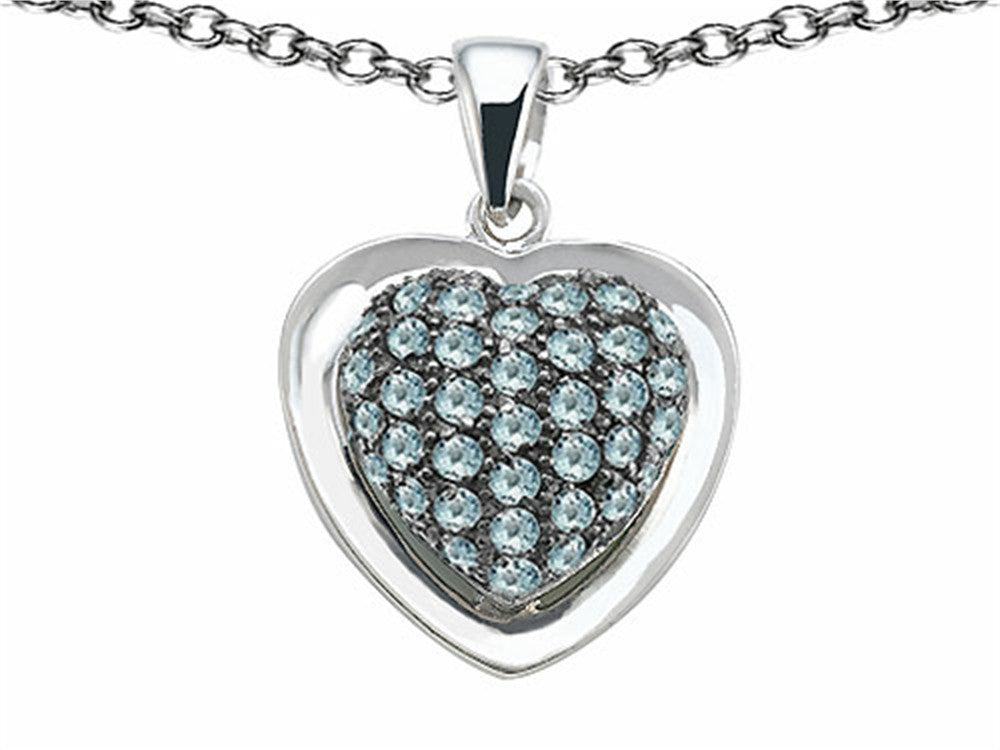 Star K Heart-Shape Love Pendant Necklace with Simulated Aquamarine Sterling Silver