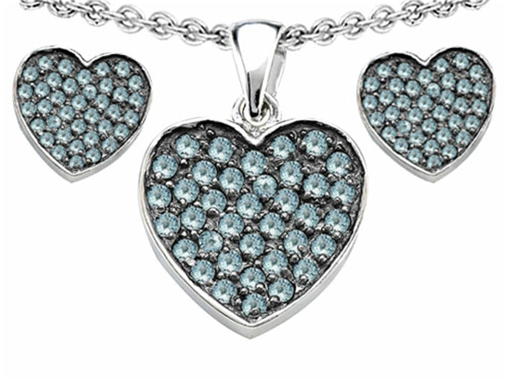 Star K Simulated Aquamarine Heart-Shape Love Pendant with matching earrings Sterling Silver