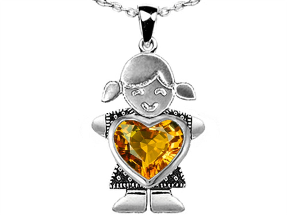 Star K Girl Holding 8mm Mother Heart November Birth Month Pendant Necklace with Simulated Citrine Sterling Silver