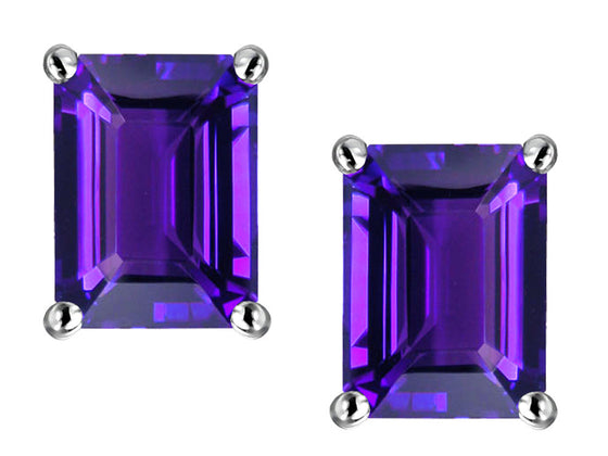 Star K 8x6mm Emerald Cut Simulated Amethyst Earrings Sterling Silver