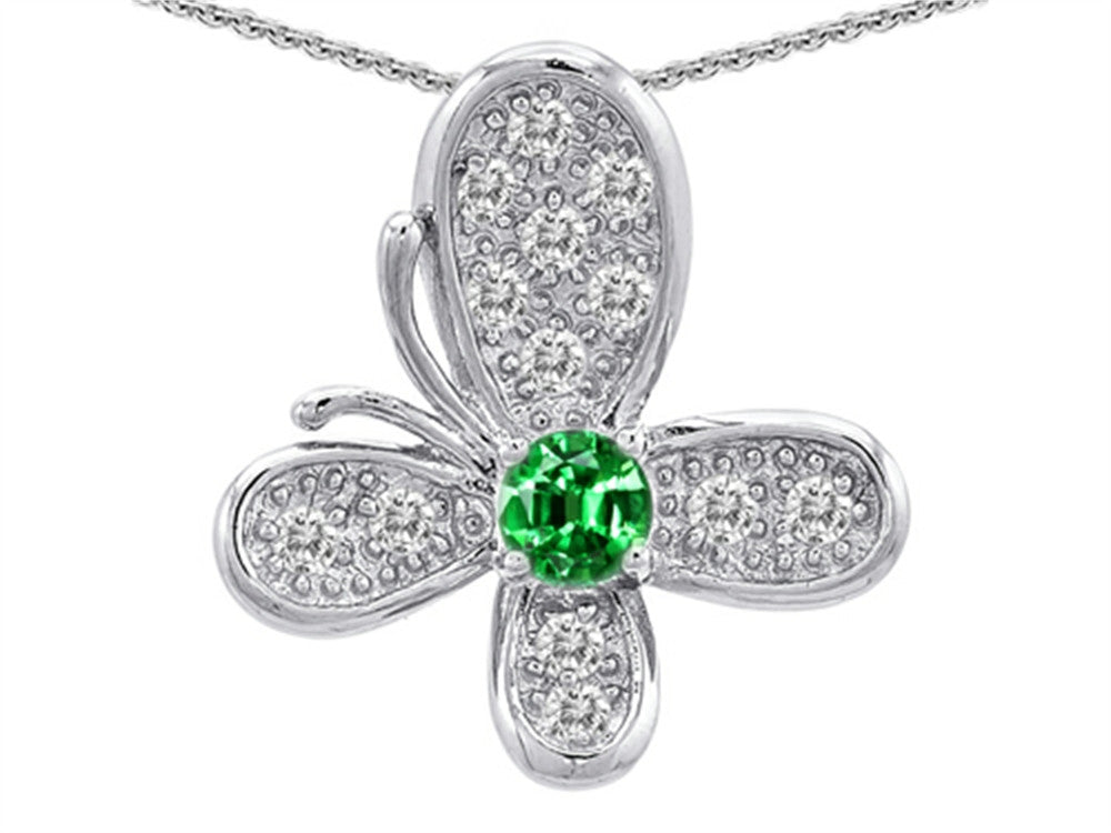Star K Butterfly Pendant Necklace with Round Simulated Emerald Sterling Silver