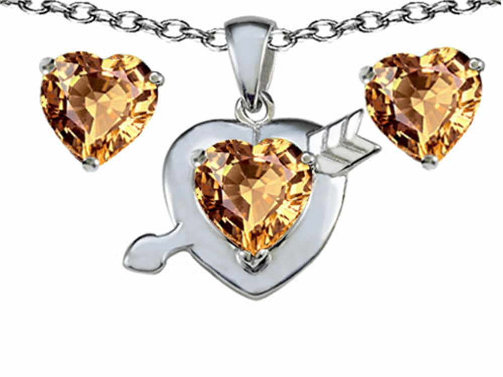 Star K Simulated Imperial Yellow Topaz Heart with Arrow Pendant Necklace with Matching Earrings Sterling Silver