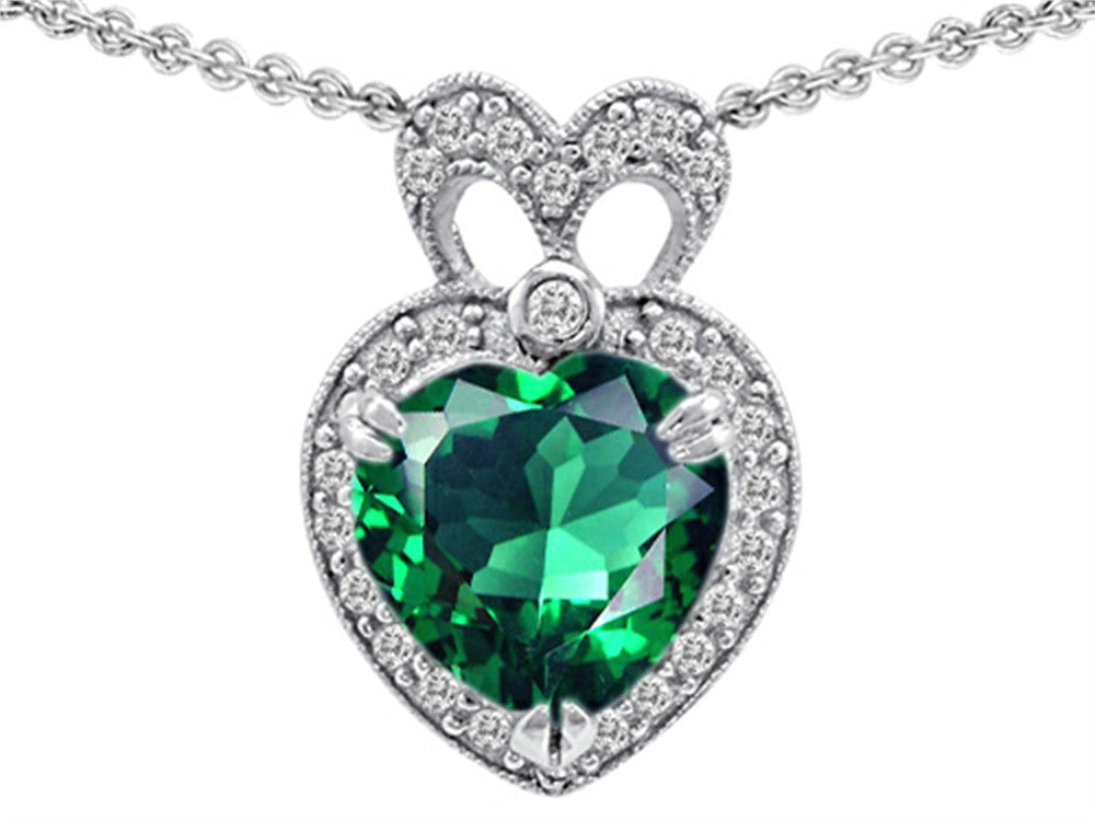 Star K Heart Shape Simulated Emerald Pendant Necklace Sterling Silver