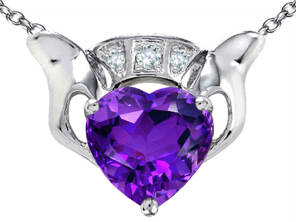 Star K 8mm Heart Claddagh Pendant Necklace with Simulated Amethyst Sterling Silver