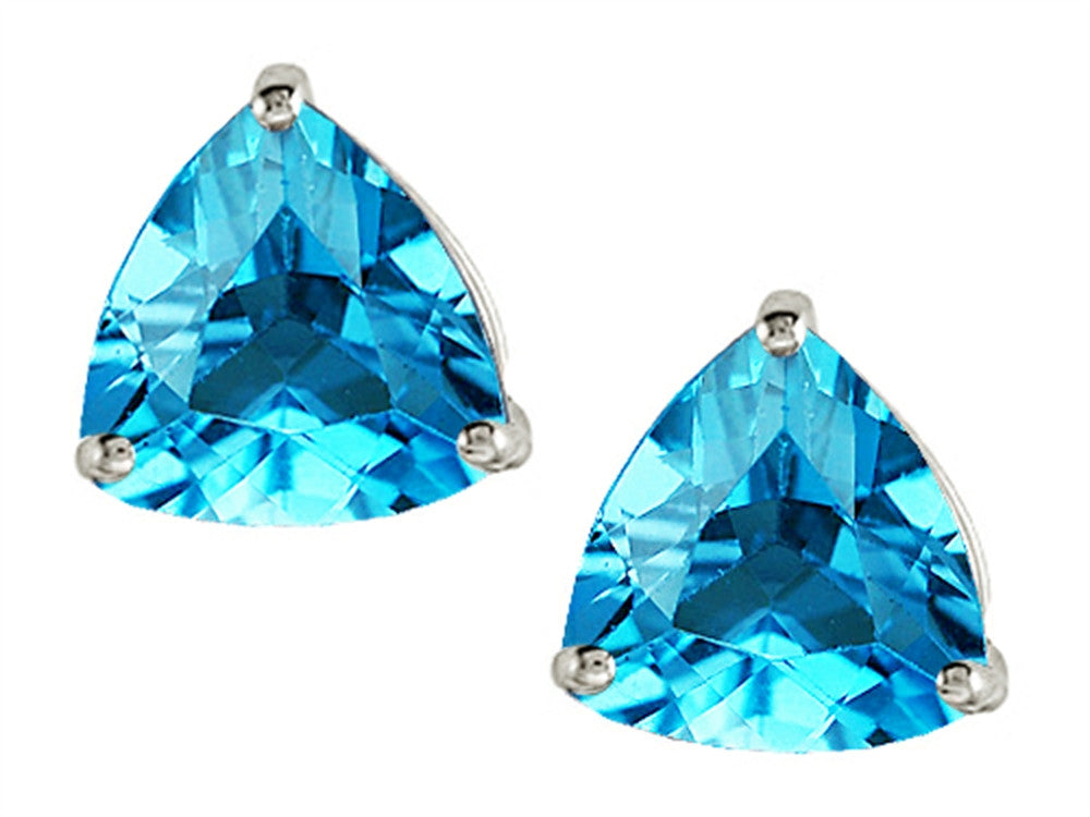 Star K Trillion 7mm Genuine Blue-Topaz Earrings Studs Sterling Silver