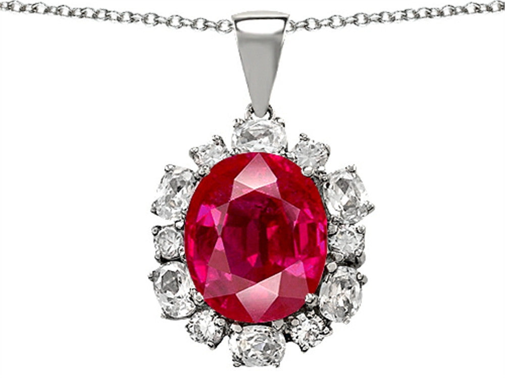 Star K Oval 12x10mm Created Ruby Pendant Necklace Sterling Silver