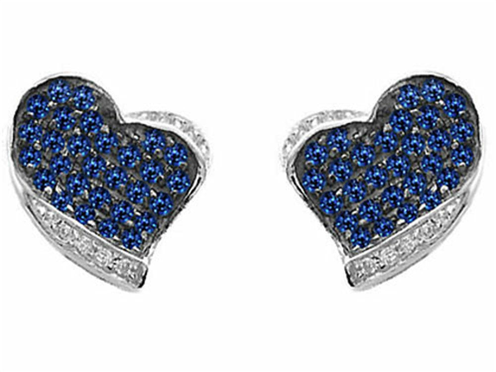 Star K Heart-Shape Love Earrings with Created Sapphire Sterling Silver