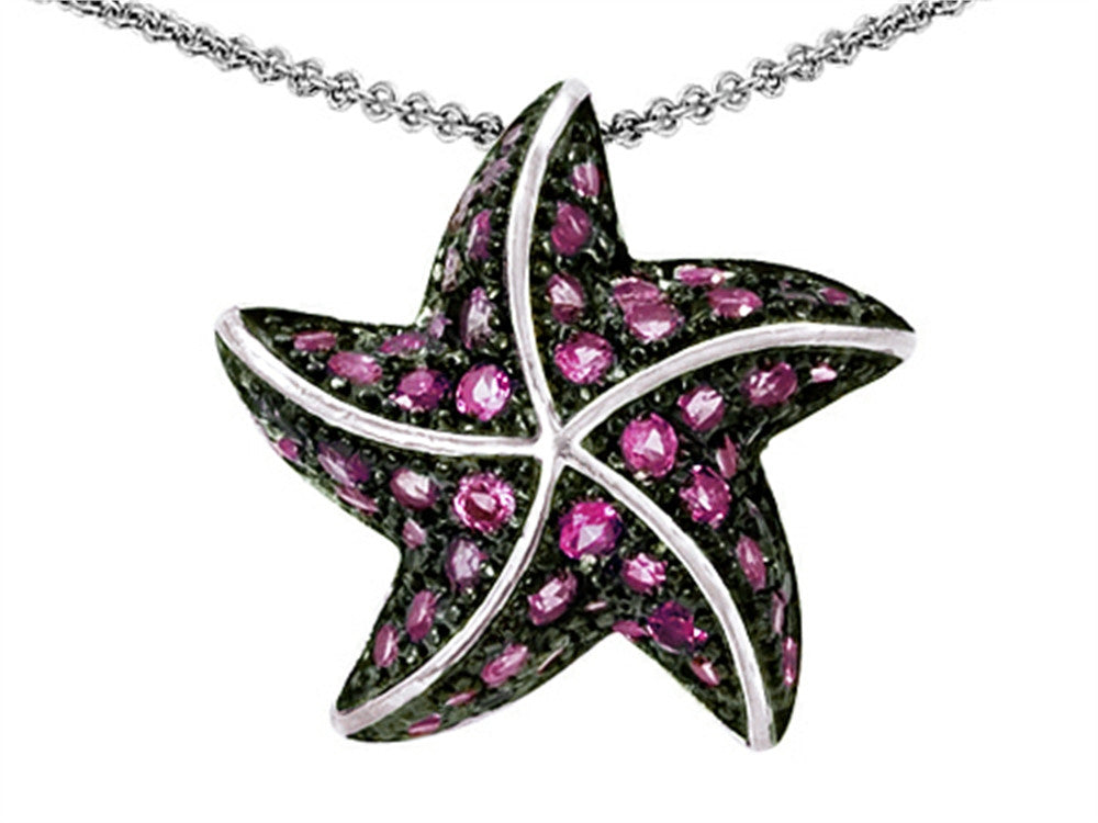 Star K Starfish Pendant Necklace with Created Round Pink Sapphire Sterling Silver