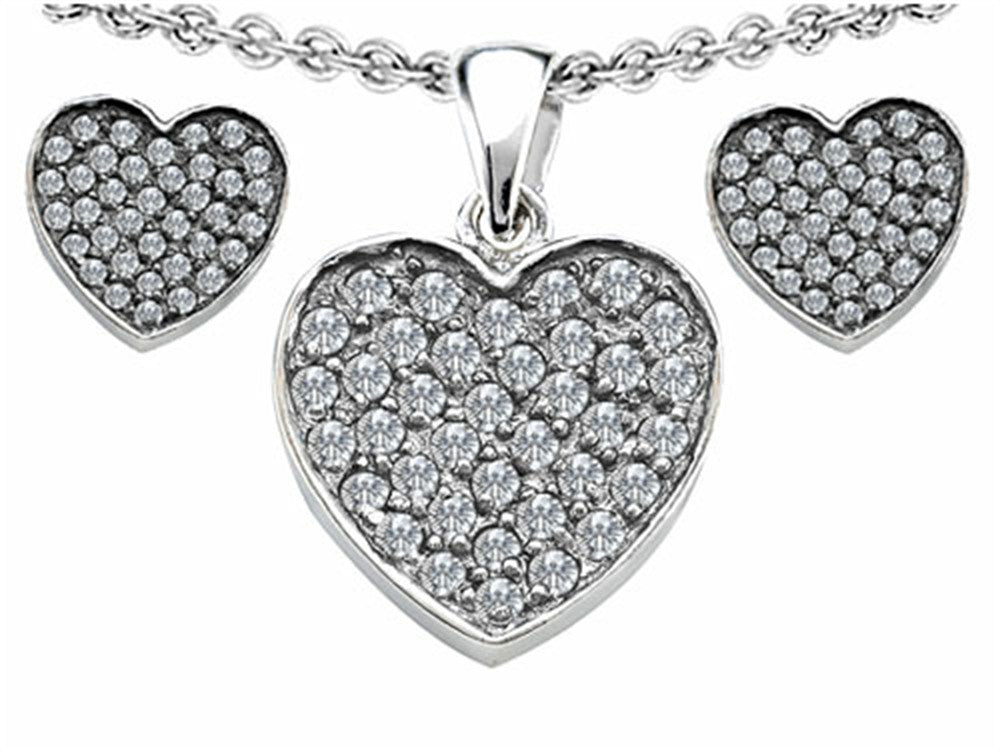 Star K Cubic Zirconia Heart-Shape Love Pendant with matching earrings Sterling Silver