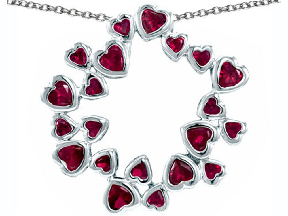 Star K Circle of Love Pendant Necklace with 20 Created Ruby Hearts Sterling Silver