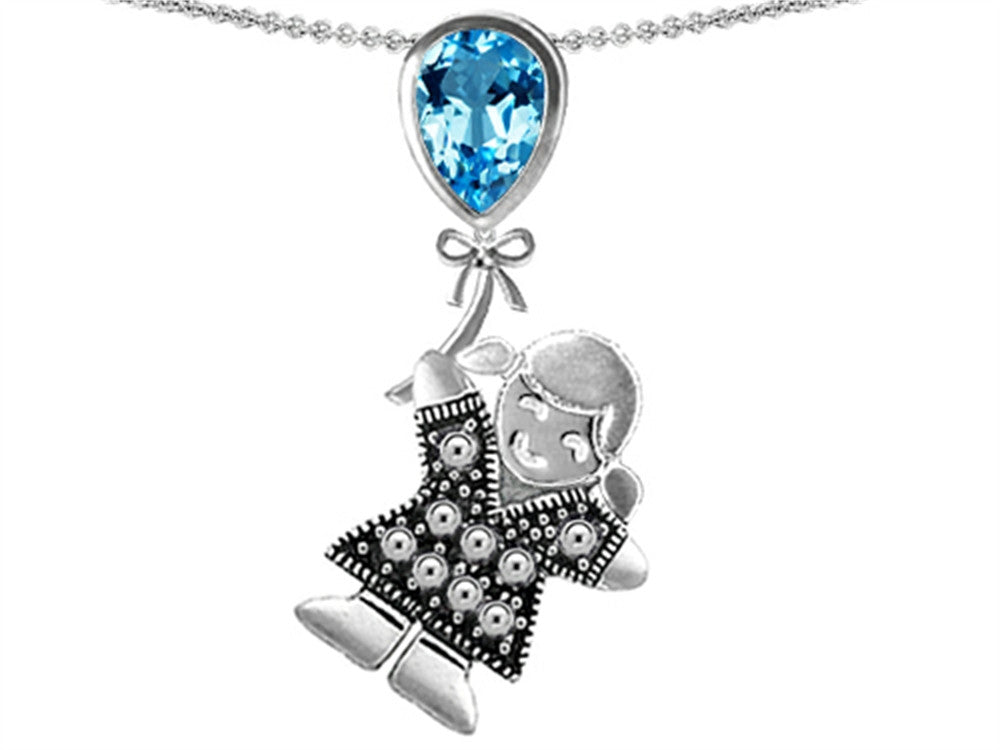 Star K Girl Holding a Balloon Mother December Birth Month Pear Shape Simulated Blue-Topaz Pendant Necklace Sterling Silver