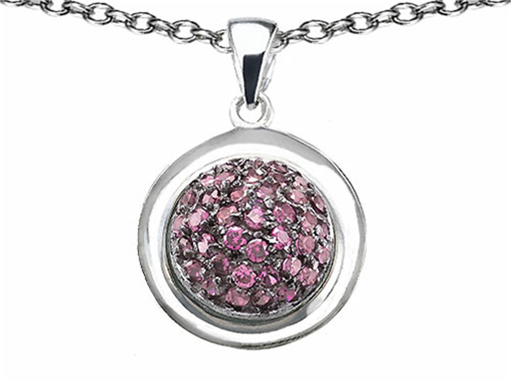 Star K Round Puffed Pendant Necklace with Created Pink Sapphire Sterling Silver