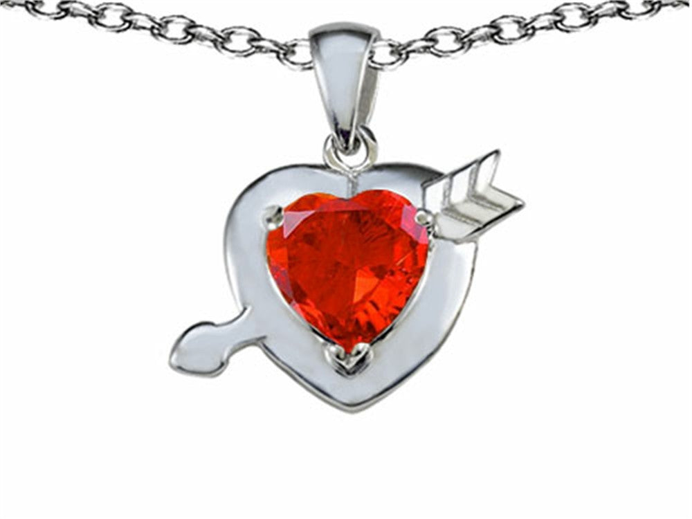 Star K Heart with Arrow Love Pendant Necklace with Simulated Orange Mexican Fire Opal Sterling Silver
