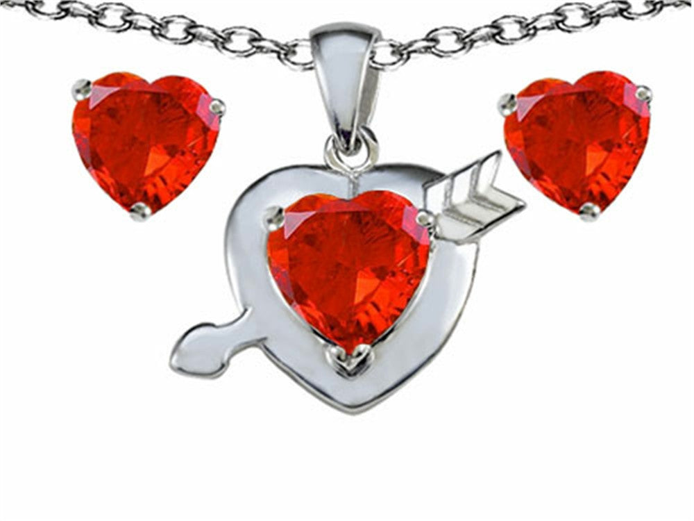 Star K Simulated Orange Mexican Fire Opal Heart with Arrow Pendant Necklace with matching earrings Sterling Silver