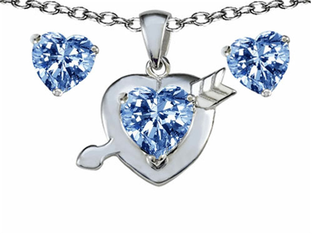 Star K Simulated Aquamarine Heart with Arrow Pendant Necklace with matching earrings Sterling Silver