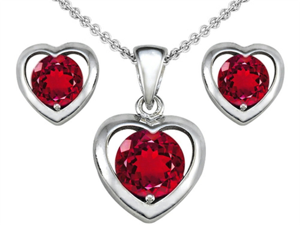 Star K Created Ruby Heart Earrings with matching Pendant Sterling Silver