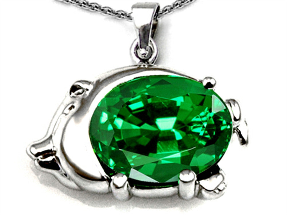 Star K Lucky Pig Pendant Necklace with Oval Simulated Emerald 12x10mm Sterling Silver