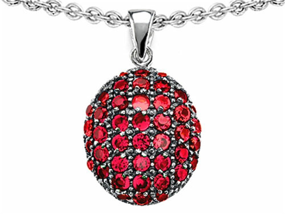 Star K Oval Puffed Pendant Necklace with Created Ruby Sterling Silver