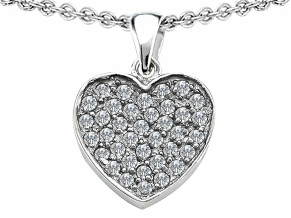 Star K Heart-Shape Love Pendant Necklace with Cubic Zirconia Sterling Silver