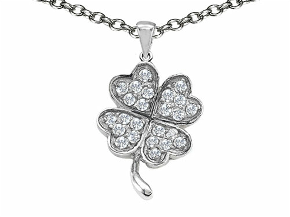 Celtic Lucky Clover Pendant Necklace with Cubic Zirconia Sterling Silver