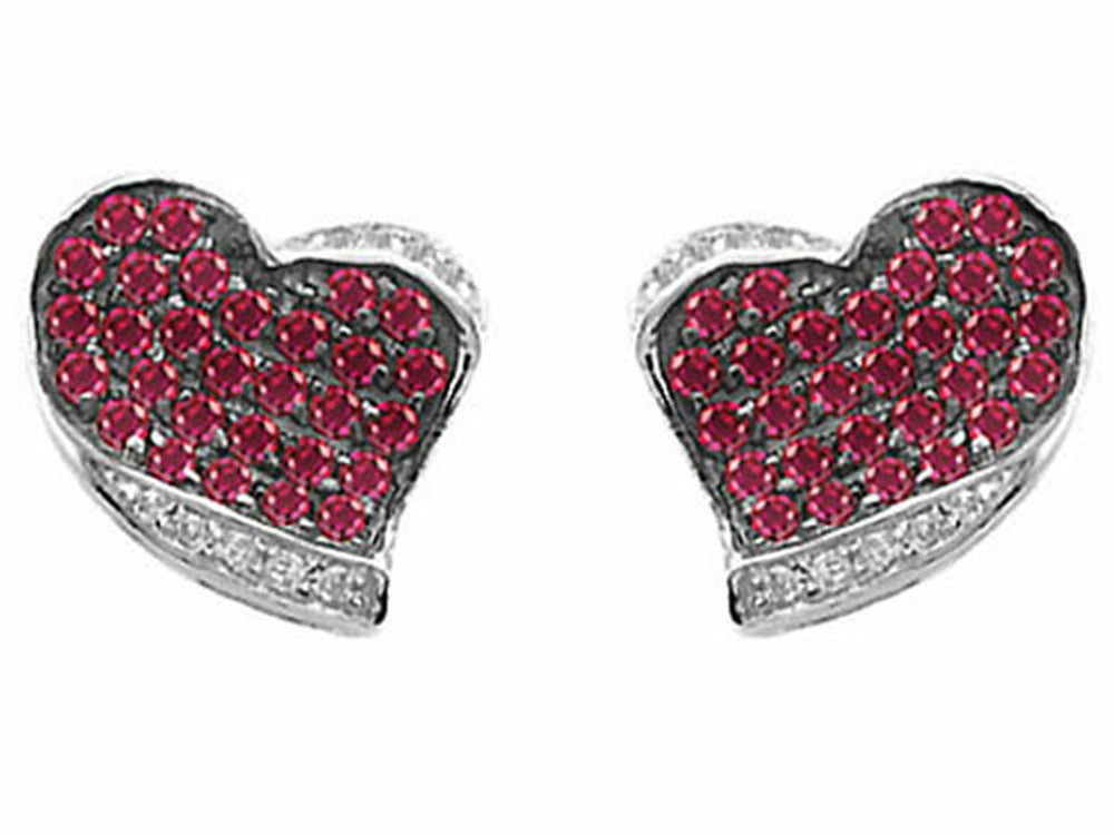 Star K Heart-Shape Love Earrings with Created Ruby Sterling Silver